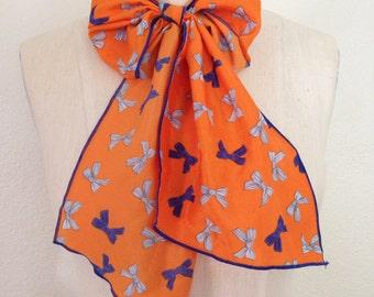 Multi Use Brushed Satin Scarf - Orange and Blue Bows
