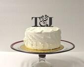 MONOGRAM Wedding Cake Topper INITIALS Bird Design Personalized Wedding Cake Topper with Any 2 Initials of Your Choice Custom Monogram Topper