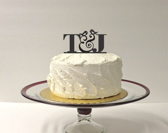 MADE In USA, Monogram Wedding Cake Topper Bird Design Personalized Wedding Cake Topper with Any 2 Initials of Your Choice Custom Monogram