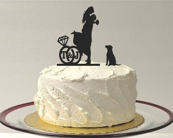 MADE In USA, Ring Design Personalized Wedding Cake Topper with Your Initials, Add Your Dog Silhouette Cake Topper, Bride + Groom + Pet Dog
