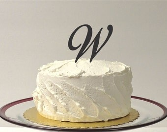 MADE In USA, Letter W Wedding Cake Topper, Simple Beautiful Wedding Cake Topper, Initial Wedding Cake Topper Monogrammed Wedding Cake Topper