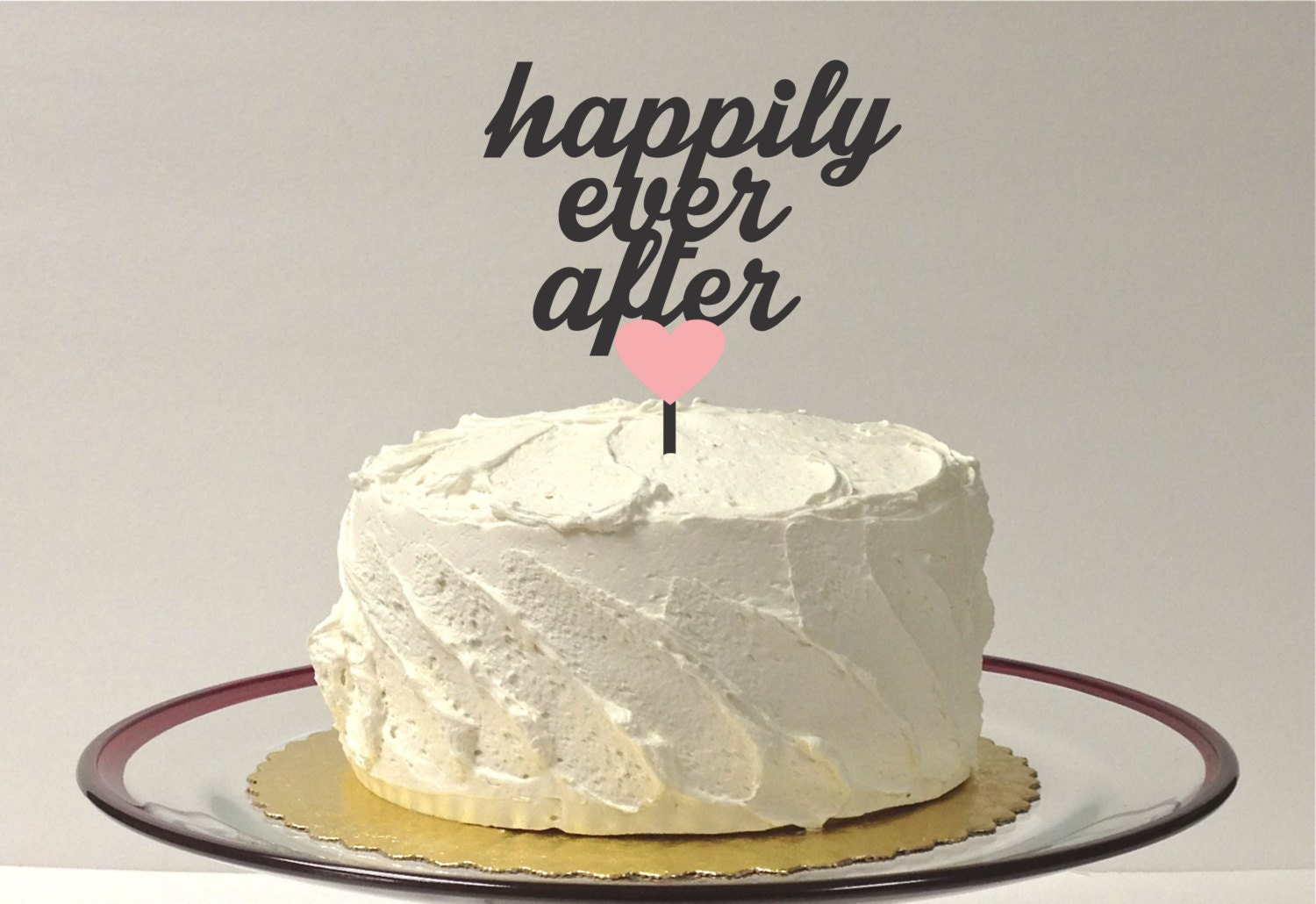 MADE In USA Wedding Cake Topper Happily Ever After With Heart