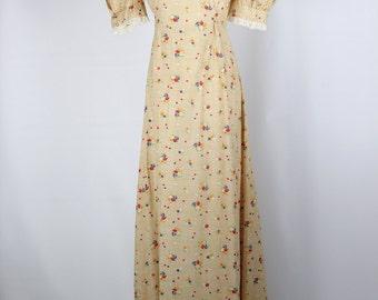 Skeeter Davis Maxi Floral/Heart Print Cotton 60s Prairie Dress -- Sz Sm