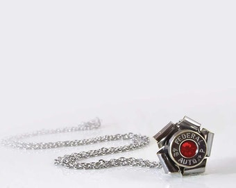 Swarovski Crystal Bullet Necklace - Silver & Nickel Plated Rosette Upcycled Bullet Casing Pendant Birthstone Jewelry