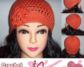 Orange Crochet Beanie Hat, Womens Accessories, Orange Beanie, Beanie with Flower