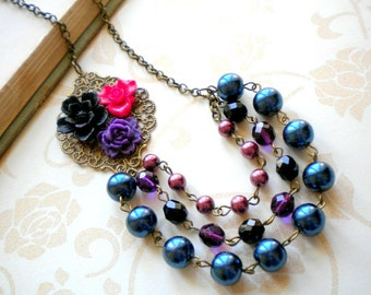 Purple Statement Necklace Flower Necklace Beadwork Bib Necklace Multi Strand Pearl Necklace Gift For Her Flower Bib Jewelry Floral Necklace