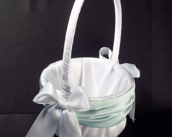 Mint Green Accent  Wedding Flower Girl Basket White or Ivory
