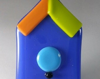 OOAK birdhouse suncatcher ornament blue orange aqua