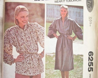 McCalls 6255 Dress or Tunic Top Vintage Sewing Pattern Bust 40