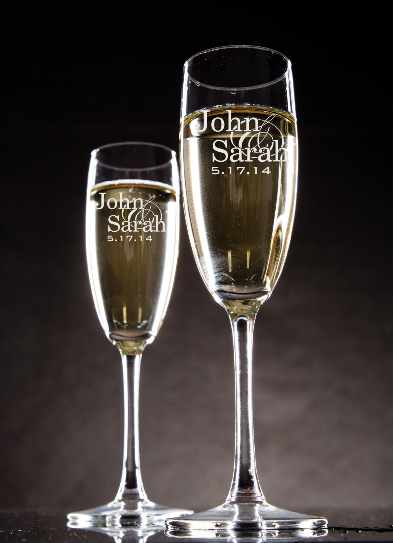 personalized champagne glasses champagne flutes bride and. Black Bedroom Furniture Sets. Home Design Ideas
