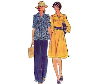 1970s Pants Top & Boho Dress Pattern Butterick 4126 Vintage Sewing Pattern Size 12 Bust 34 inches