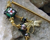 Black Cloisonne Hair Stick Hairpin with Dragonfly Charm Oriental Hairstick - Melanee
