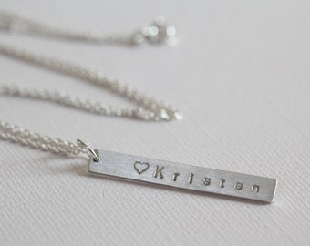 Bar necklace personalized necklace, mothers necklace, name necklace, UNISEX - sterling silver