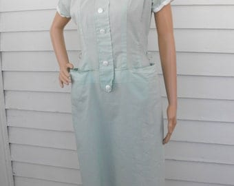 Kerrybrooke Pale Green 50s Dress Vintage Cotton Pockets S M