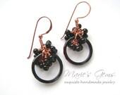 Black Onyx Earrings, Cluster, Copper, Wire Wrapped, Black Agate, Blackberry Earrings, Handmade Jewelry