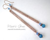Oxidized Copper Stick Earrings, Blue Agate, Textured Copper, Long Sticks, Linear, Bright Blue, Artisan Jewelry, 840