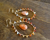 Sale-SHOP CLOSING 5/21/14-Teardrop Earrings (medium)-  Semi Precious Fire Opal, Carnelian & 14K Gold Fill. Ombre/ timeless, boho chic,