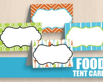 GUITAR FOOD TENT Labels in Orange, Lime Green, and Turquoise Aqua Blue- InstantEditable Printable Download