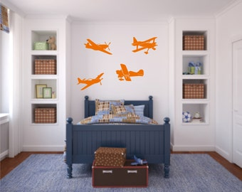 Airplane Vinyl Wall Decals - Airplane Decal - Nursery Vinyl Wall Decal - Wall Sticker - Child's Room Wall Decal - Planes