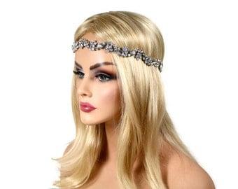 Bridal Headband, Rhinestone Headband, Wedding Headband, Crystal Ribbon Headband, Wedding Hair Accessory