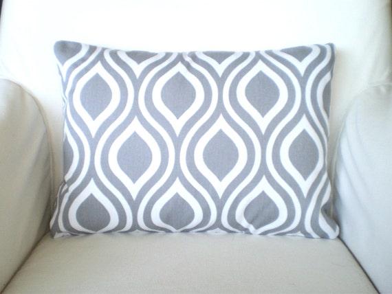gray white lumbar pillow cover decorative throw pillows. Black Bedroom Furniture Sets. Home Design Ideas