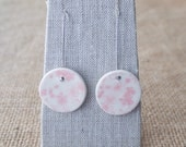 Ceramic Earrings Pink Cherry Blossoms, Porcelain Jewellery by Mrs Peterson Pottery