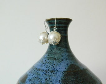 Belle of the Ball Earrings - Sterling Silver Leaves and Cream Swarovski Crystal Pearls - Color Options