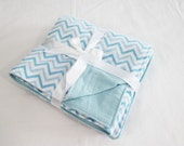 Reversible Blue Chevron Flannel Baby Blanket - double thickness blanket