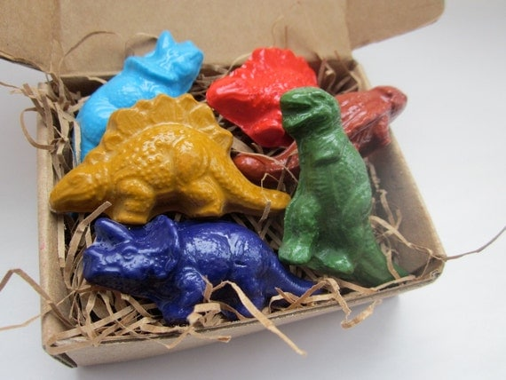 Dinosaur CRAYONS Natural ECO FRIENDLY Toys Handmade Soy Crayons Dinosaurs (Set of 6) Gift for Kids, Birthday Party Favor,