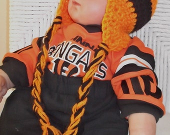 Orange and Black Hat....Cincinnati....NFL.....Earflaps & Braids...Bengals....Sizes.Newborn up to 9 month Babies...Boy or Girl..READY To SHIP