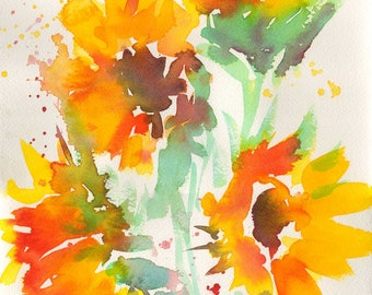 Energy Sunflowers Watercolor - Signed Giclee Fine Art Print