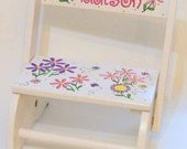 Child's Flip Stool with Bright Daisies and Butterflies