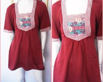Vtg.70s Claret Maroon Rose Bib Angel Sleeve Mini Dress.S.Bust 32-36.Waist 28-30.
