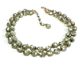 2 Strand Beaded Necklace in Graduated Gray Art Beads & Gold Rondelles with J-Hook Clasp Closure - Vintage 50s Lucite Costume Jewelry
