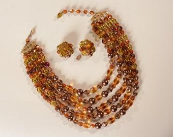 Vintage 1950s Schiaparelli Necklace Earrings - Amber Glass Bib - Fall Fashions