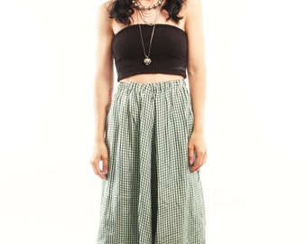 ISLA 70s Green and White Plaid Gingham Checkered High Waist Country Western Chic Shabby Small