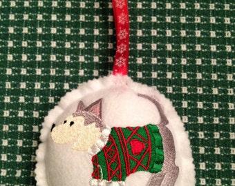 Custom Embroidered Siberian Husky Christmas Ornament