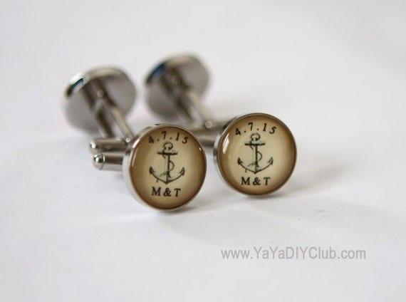 Wedding Gift for Groom Cufflinks Custom, Vintage Anchor Wedding Gift ...