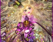 OOAK Mermaid Art Doll Fairy Mermaid Soft Sculpture Cloth Mermaid Doll Blond Purple Violers Fantasy Fairy Mermaid Art Doll