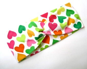 Twisted Turban headband Hearts Print