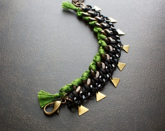 Fern Green Woven Brass Curb Chain Bracelet with Brass Triangle Charms