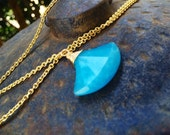 Blue Chalcedony Necklace.  Gold, silver, rose gold, tarnished silver