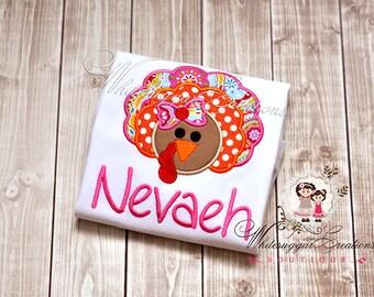 Colorful Girl Turkey Shirt - Fall Thanksgiving Shirt - Custom Baby Girl Thanksgiving Shirt
