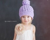 Violet Cotton Crochet Toddler Pompom Hat for Girls - Crochet hats, Girl Beanies, Toddler Girl Hat, 12 Months to 4T