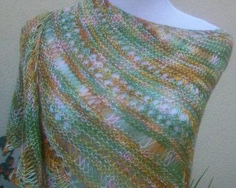 Pastel Random Monet Fine Merino Wool Hand Knit Beaded Lace Shawlette or Scarf