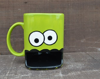 Apple Green Googly Eyed Monster Ceramic Cookie and Milk Dunk Mug - Ready to Ship