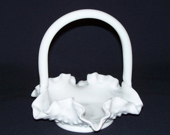 Fenton Ruffled Hobnail Milk Glass Basket  (551-1)