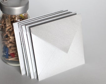 Silver Square Envelope, Shimmer Paper, Light Gray, Various Square Envelope Sizes, Set of 12