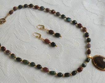 Fancy Jasper Necklace and Earring Set