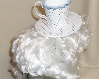 Teacup Fascinator- White and Blue Polka Dotted